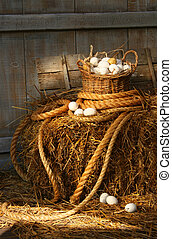 Basket of eggs on a bale of hay