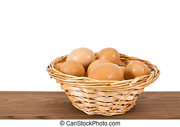 basket of eggs on the wooden table