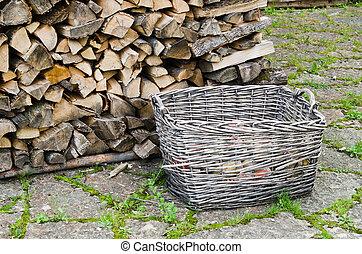 basket of firewood, close-up