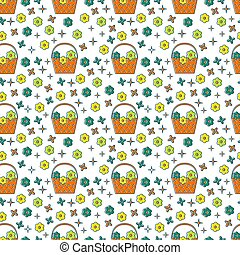 Basket of flowers seamless pattern