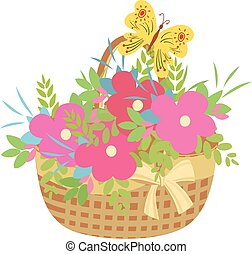 basket of flowers with a butterfly