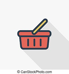 Basket of food, shopping, special offer, vector flat line icon design