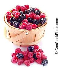 Basket of Fresh Raspberries and Blueberries