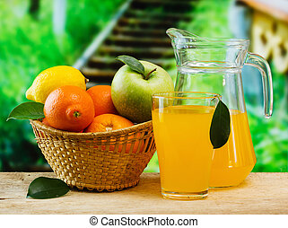 basket of fruit and juice