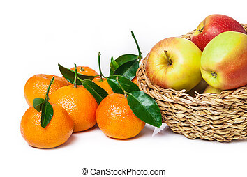 Basket of fruit, apples, leaf clementines