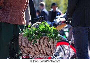 Basket of groceries on the bike