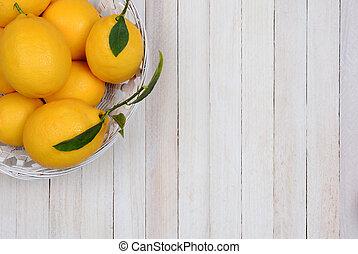 Basket of Lemons in Corner
