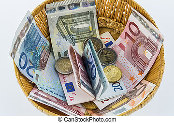 basket of money from donations