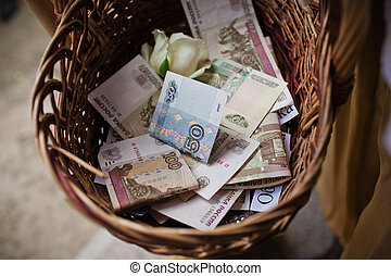 Basket of money. Russian rubles