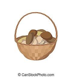 Basket of mushrooms icon, cartoon style