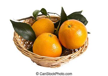 basket of oranges isolated