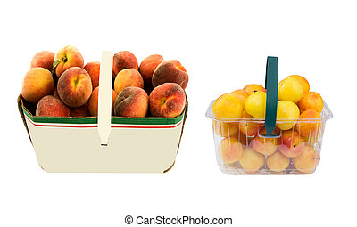 basket of peaches and plums