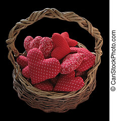 basket of red hearts