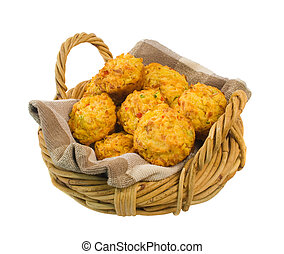 Basket of Savoury Muffins isolated over white