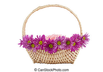 basket of shredded paper with daisy