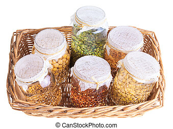 Basket of Soaked Sprouting Seeds Isolated on White...