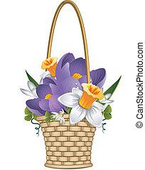 Basket of spring flowers over white. EPS 8, AI, JPEG