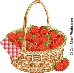 Basket of strawberries at a picnic. Vector illustration.
