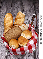 Basket of various breads.