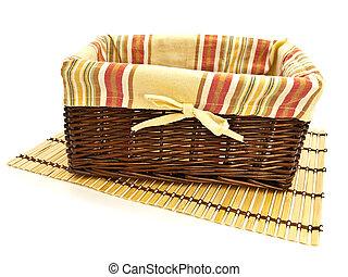 basket on bamboo mat
