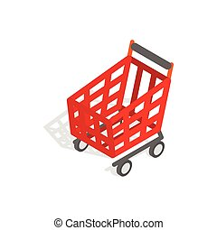 Basket on wheels for shopping icon