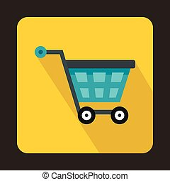 Basket on wheels icon, flat style