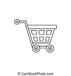 Basket on wheels icon, outline style