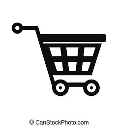 Basket on wheels icon, simple style