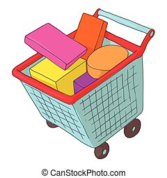 Basket on wheels with shopping icon, cartoon style