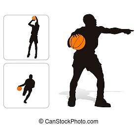 Basket player set - Vector illustration of basketball player...