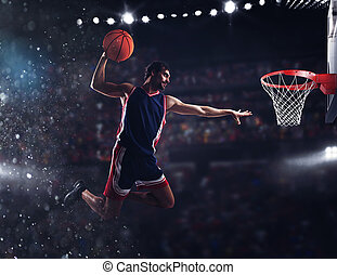 Basket player throws the ball at the stadium - Player throws...
