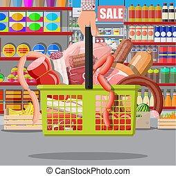 basket., prodotti, carne, supermercato