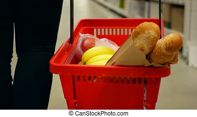 Basket products supermarket - Happy woman with shopping...