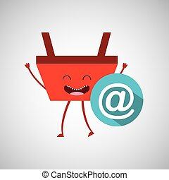 basket red commerce email mail icon