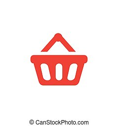 Basket Red Icon On White Background. Red Flat Style Vector Illustration.