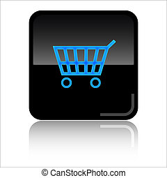 Basket shop glossy web icon