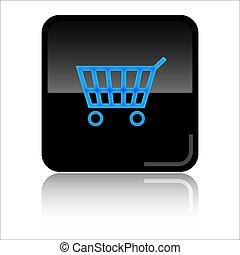 Basket shop glossy web icon