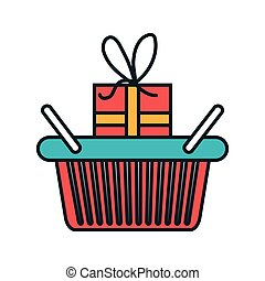 basket shopping with gift icon