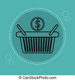 basket shopping with money icon
