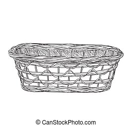 Basket sketch isolated on white background.