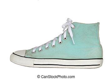 basket, style, chaussures, vendange, fond, isolé, vert, attachant voie accès, blanc, sport