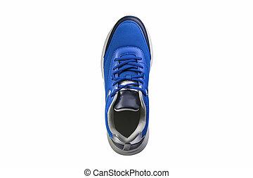 basket, tissu bleu, fait, blanc, arrière-plan.