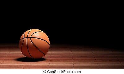 basket uppvakta, golv, isolerat, boll, svart, copy-space