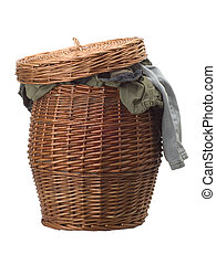 Washing basket on white background