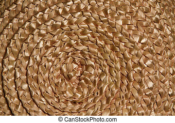 Basket wicker braid weave texture, Circle straw reed macro background