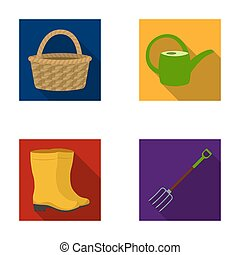 Basket wicker, watering can for irrigation, rubber boots, forks. Farm and gardening set collection icons in flat style raster, bitmap symbol stock illustration web.