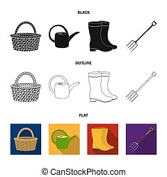 Basket wicker, watering can for irrigation, rubber boots, forks. Farm and gardening set collection icons in black, flat, outline style bitmap symbol stock illustration web.