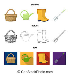 Basket wicker, watering can for irrigation, rubber boots, forks. Farm and gardening set collection icons in cartoon, outline, flat style bitmap symbol stock illustration web.