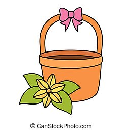 basket wicker with bow ribbon and flower