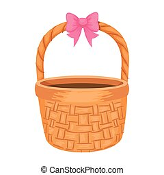 basket wicker with bow ribbon isolated icon